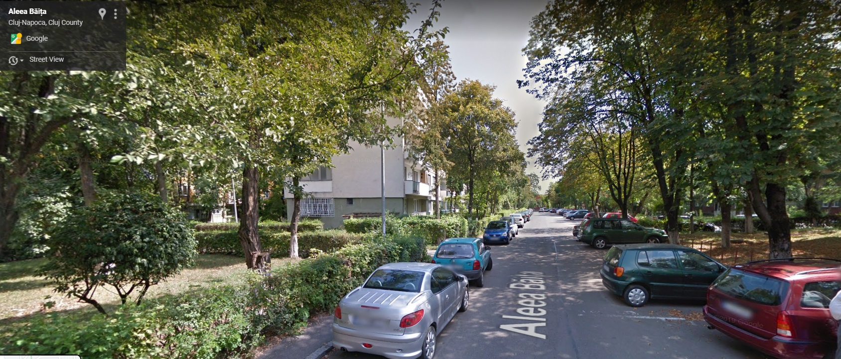 Poză cu un cartier cu o stradă asfaltată și mașini parcate pe ambele părți ale ei. Și în stânga, și în dreapta sunt spații verzi și copacii se întind cât vezi cu ochii.