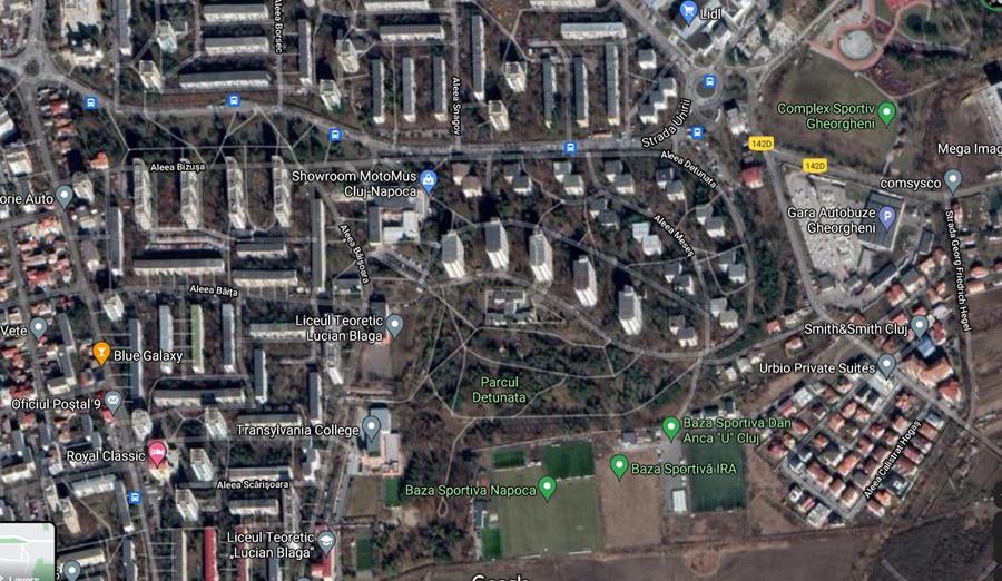 Imagine din satelit cu cartierul Gheorgheni. Blocurile par distanțate.